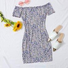 Ditsy Floral Print Off Shoulder Dress