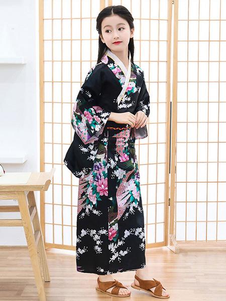 Milanoo Disfraz Halloween Disfraces japoneses Kimono para niños Vestido de poliester negro Conjunto de mujeres orientales Disfraces de vacaciones Carn