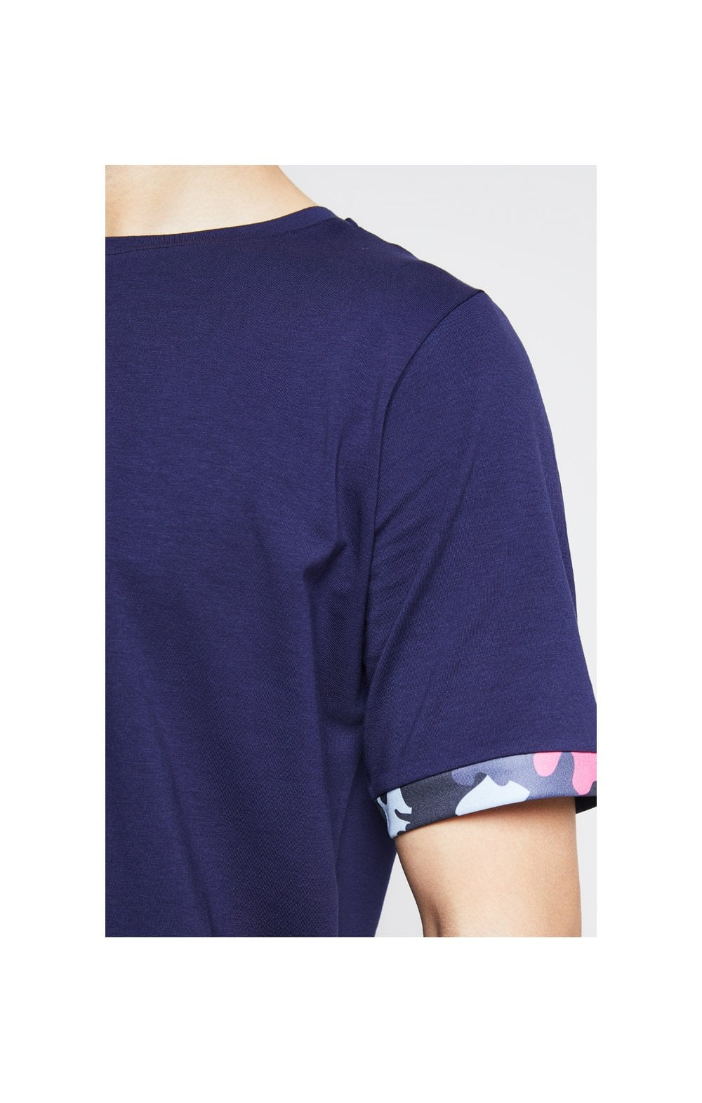 Illusive London Contrast Cuff Tee  Navy & Neon Pink Camo Kids Top