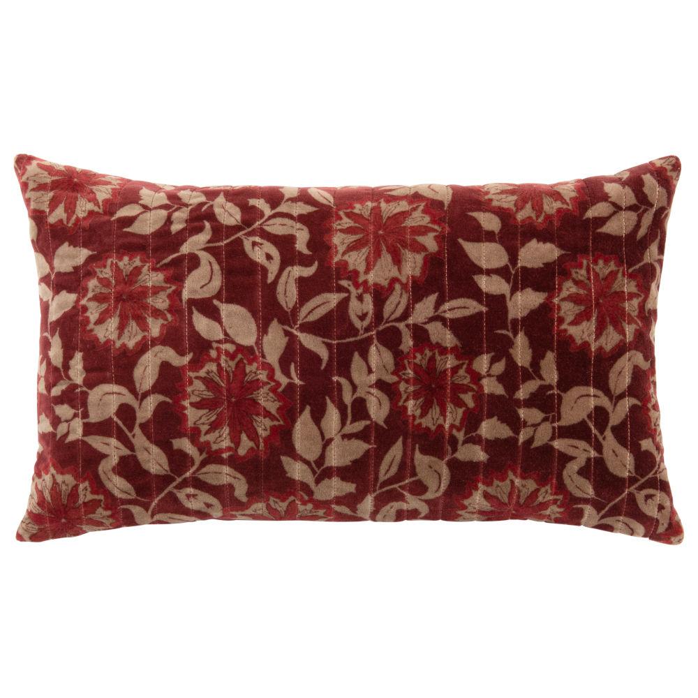 Kissenbezug aus Baumwolle, rot mit Blumenmuster 30x50