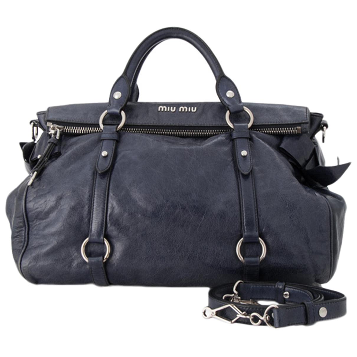 Miu Miu Bow bag Blue Leather handbag for Women \N