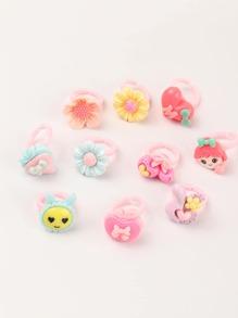 10pcs Toddler Girls Flower Decor Ring