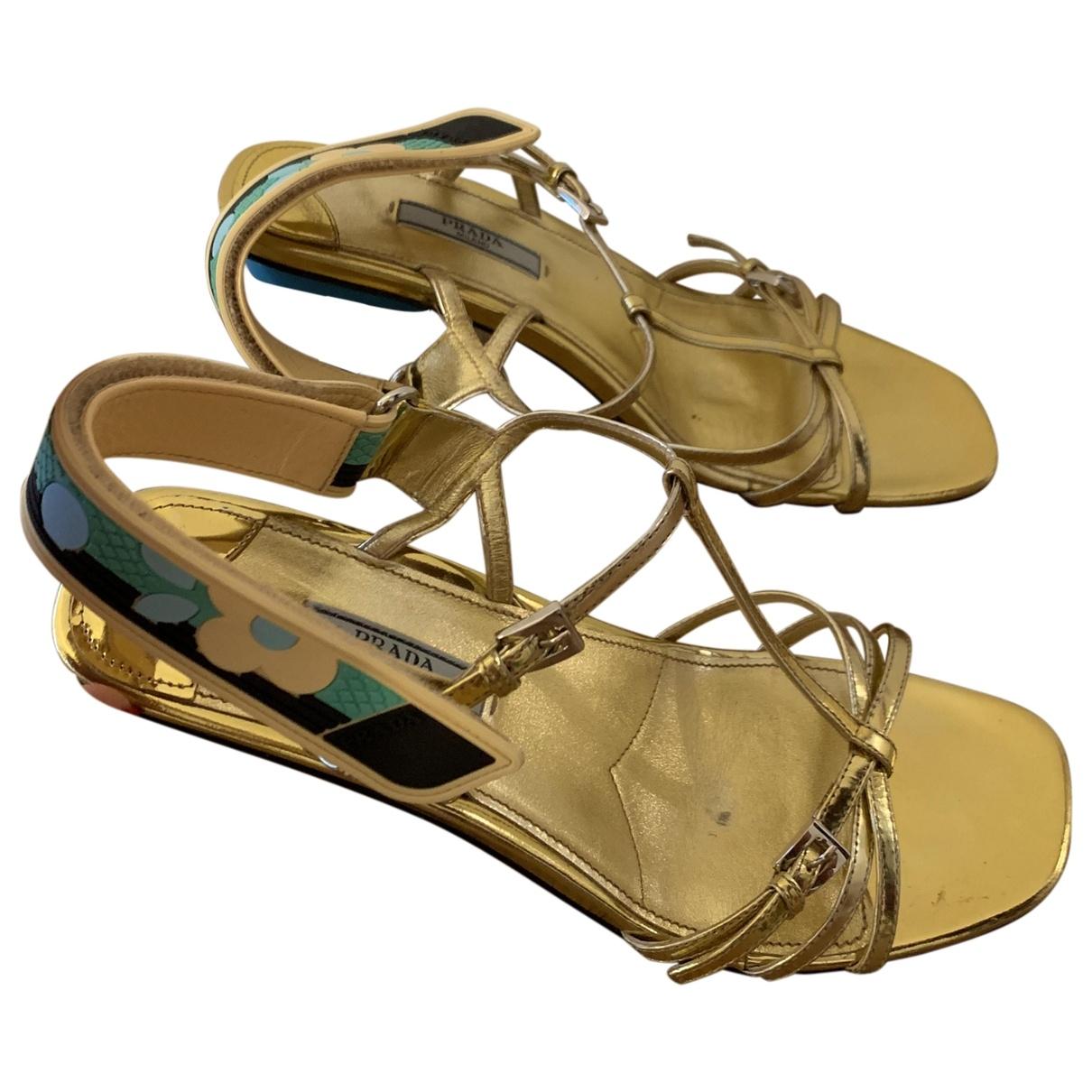 Prada \N Gold Leather Sandals for Women 39 EU