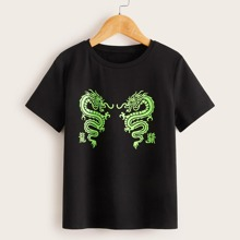 Jungen Top mit Buchstaben und Drachen Muster