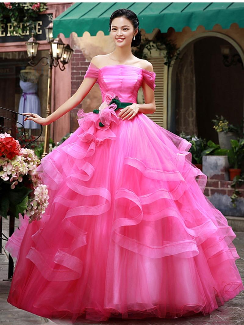 Latest Off-Shoulder Cascading Ruffles Quinceanera Dress