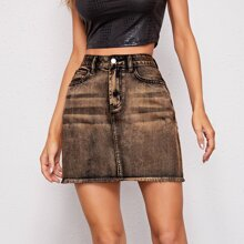 Raw Hem Slant Pocket Denim Skirt