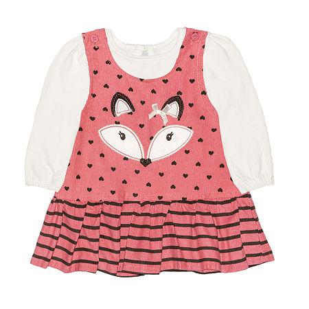 Nannette Baby Girls Long Sleeve Dress Set, 6-9 Months , Orange