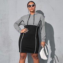Kleid mit Kontrast Bindung und Farbblock