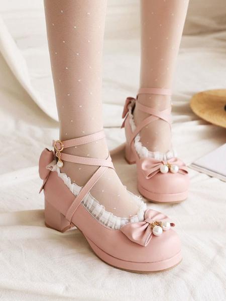 Milanoo Sweet Lolita Footwear BowsRuffles PU Leather Chunky Heel Lolita Pumps