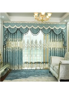 Light Luxury Home Decor Silky Chenille Embroidery Blackout Grommet Curtains