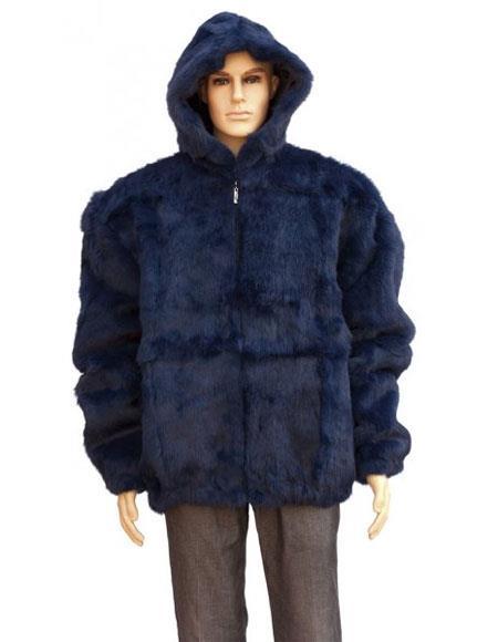 Men's Fur Navy Blue Full Skin Rabbit Pull Up Zipper Jacket
