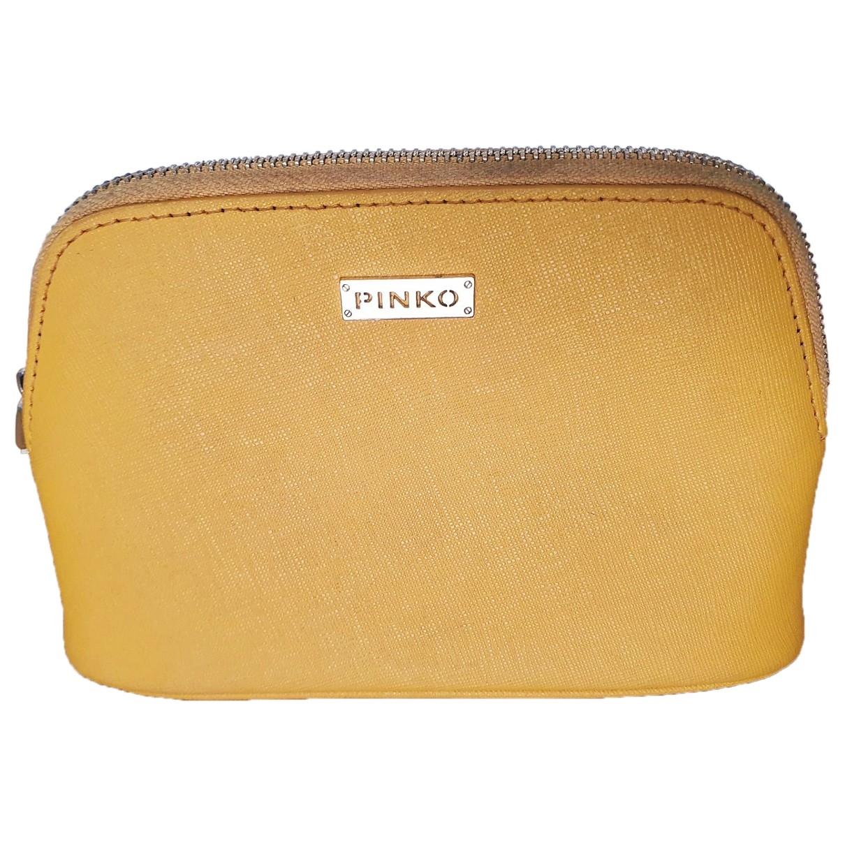 Pinko - Petite maroquinerie   pour femme en cuir - jaune