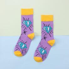 1pair Diamond Print Socks