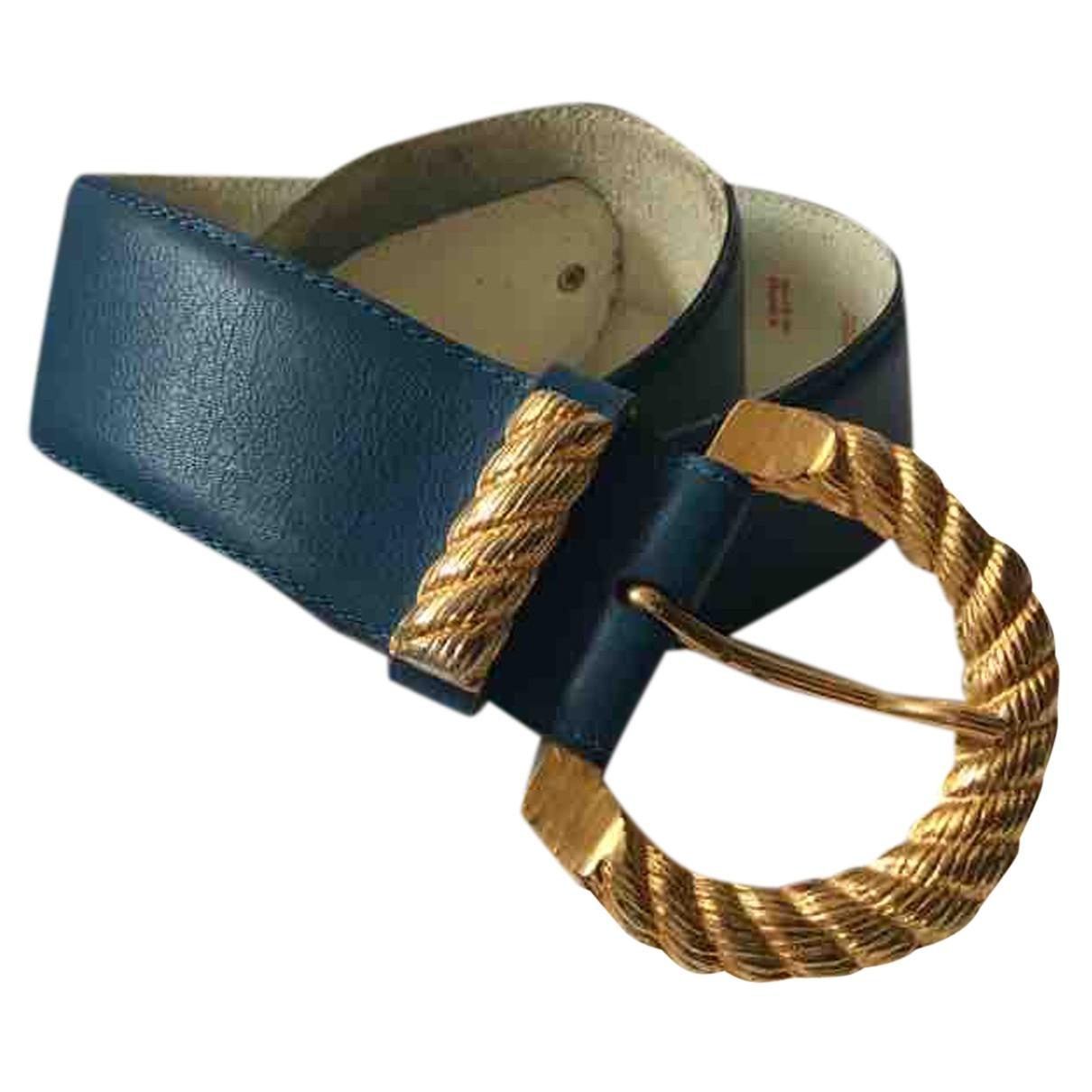 Yves Saint Laurent \N Blue Leather belt for Women 70 cm