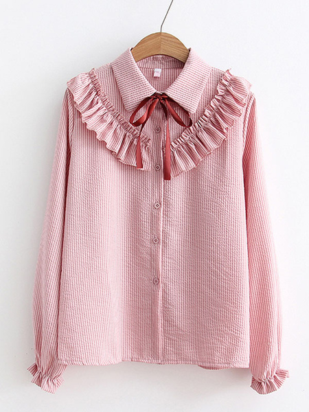 Milanoo Sweet Lolita Shirt Ruffles Bows Long Sleeves Lolita Top