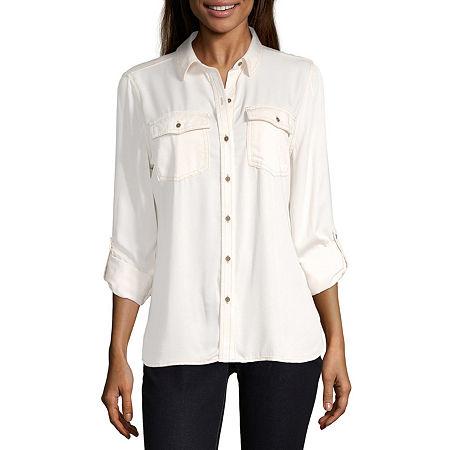 a.n.a Womens Long Sleeve Regular Fit Button-Down Shirt, Petite Medium , White