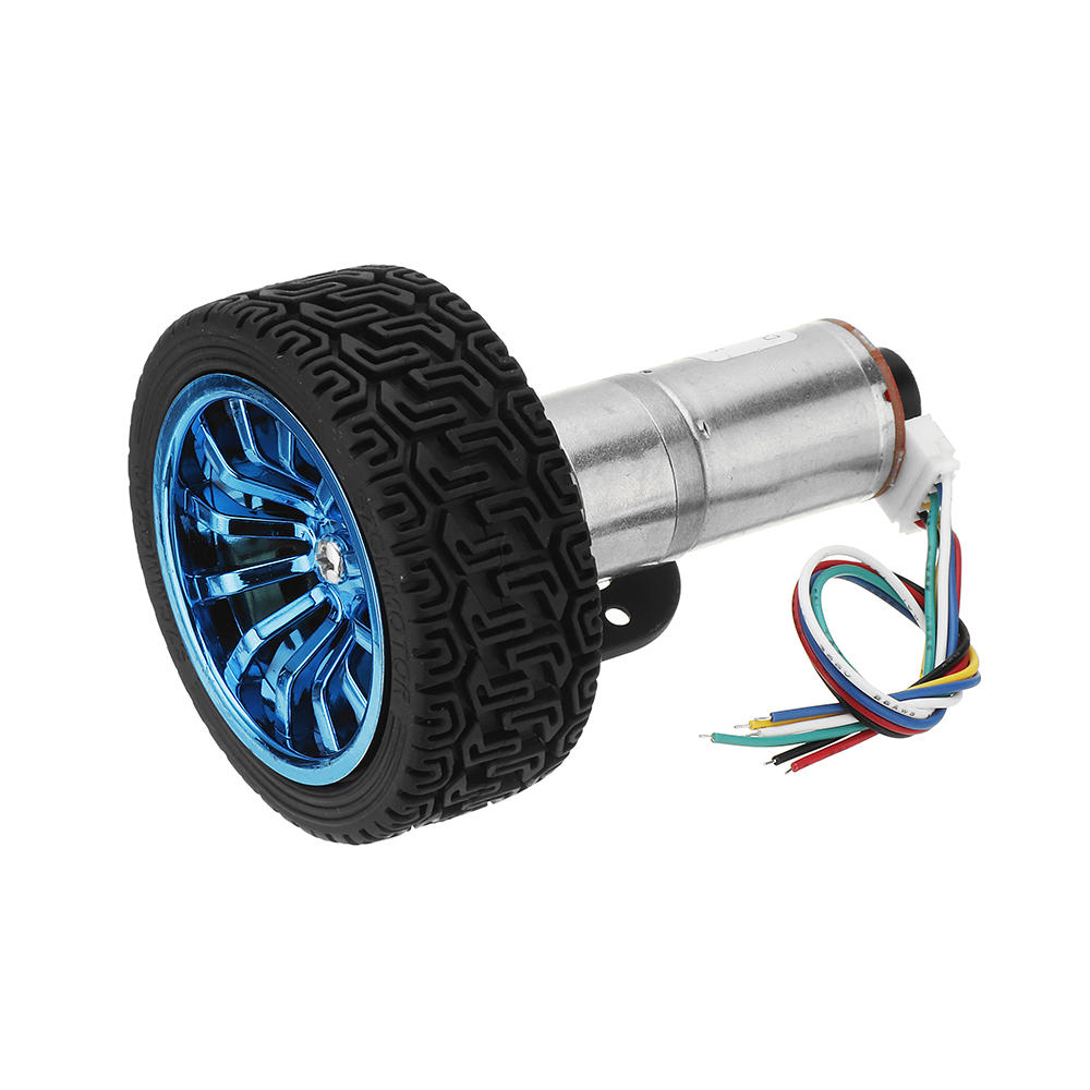Machifit 25GA370 DC 12V Micro Gear Reduction Encoder Motor with Mounting Bracket and Wheel