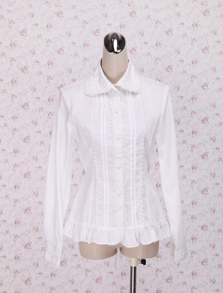 Milanoo White Cotton Lolita Blouse Long Sleeves Waist Belt Ruffles Trim