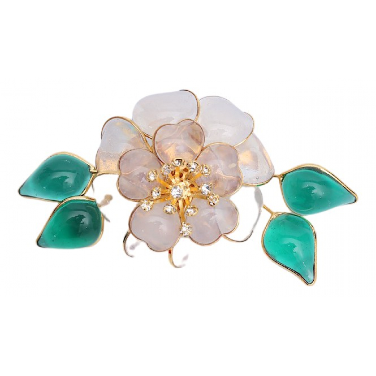 Non Signé / Unsigned Motifs Floraux Glass Pins & brooches for Women \N