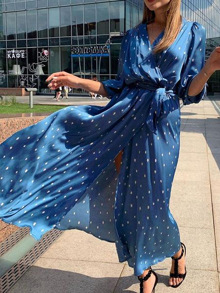 Milanoo Vestido largo de la gasa Sky Light Maxi vestidos medias mangas azul del lunar V-cuello de las mujeres Maxi