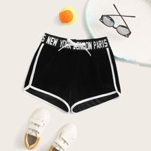 Maedchen Samt Delphin Shorts mit Knoten, Buchstaben Muster und Taillenband