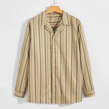 Men Striped Button Up Shirt