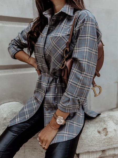 Milanoo Women\s Blouse Grey Plaid Irregular Turndown Collar Retro Long Sleeves Polyester Tops