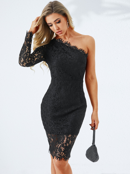YOINS Black Lace One Shoulder Long Sleeves Dress