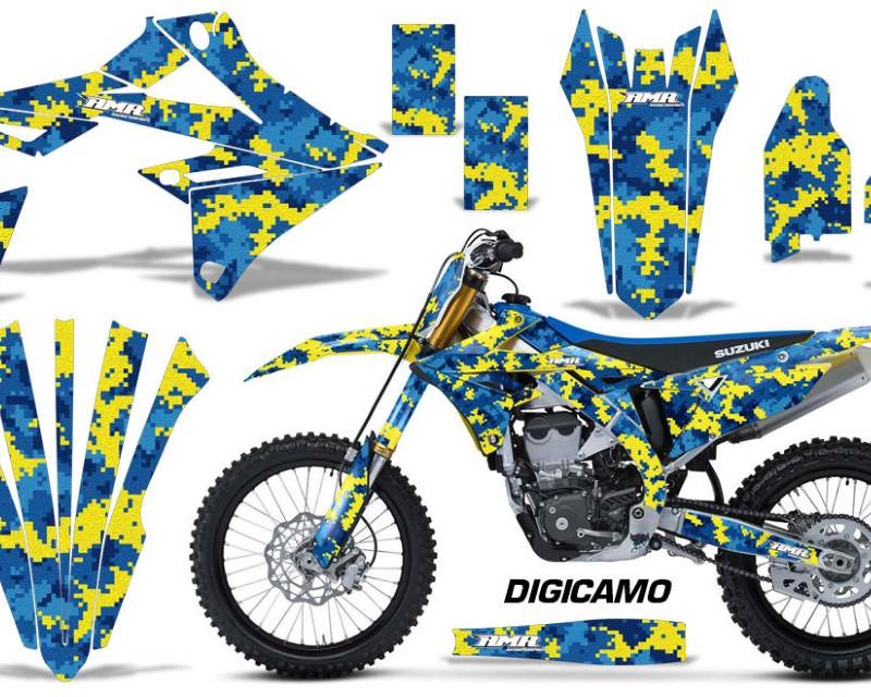 AMR Racing Graphics MX-NP-SUZ-RMZ450-2018+-DC U Y Kit Decal Sticker Wrap + # Plates For Suzuki RMZ450 2018+áDIGICAMO BLUE YELLOW