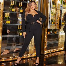 Plus Sweetheart Neck Buckle Belted Jumpsuit