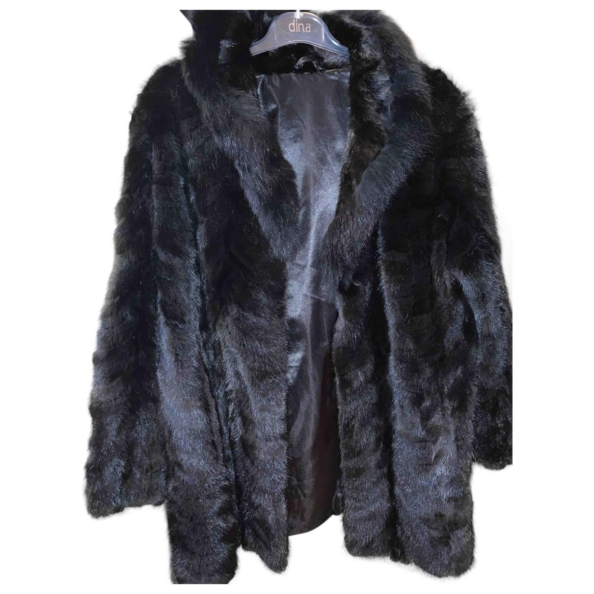 - Manteau Oversize pour femme en vison - noir