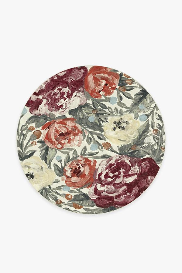 Washable Rug Cover | Camellia Currant Rug | Stain-Resistant | Ruggable | 6' Round