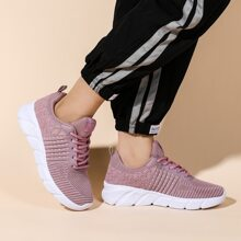 Lace Up Front Low Top Knit Sneakers