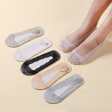 6pairs Solid Lace Invisible Socks