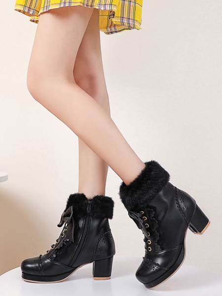 Milanoo Sweet Lolita Boots Bows Faux Fur Hollow Out Chunky Heel Lolita Shoes