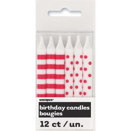 Birthday Candles Ruby Red Stripes & Dots 12Pcs