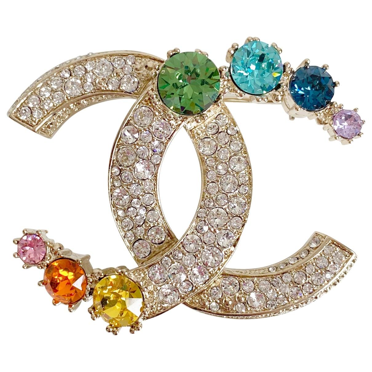 Chanel CC Brosche in  Bunt Kristall