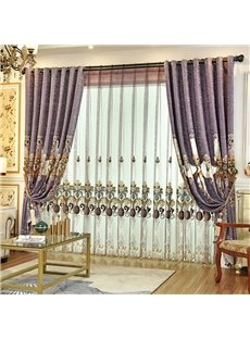 European Classic Embroidered Decorative Purple Custom Sheer Curtains for Living Room Bedroom