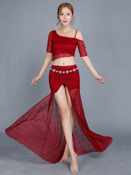 Milanoo Disfraz Halloween Trajes de danza del vientre vestidos de encaje rosa larga falda y Top mujeres sexy ropa de baile Bollywood Carnaval Hallowee