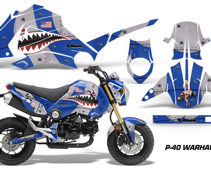 AMR Racing Motorcycle Graphics Kit Decal Sticker Wrap For Honda GROM 125 2013-2016áWARHAWK BLUE