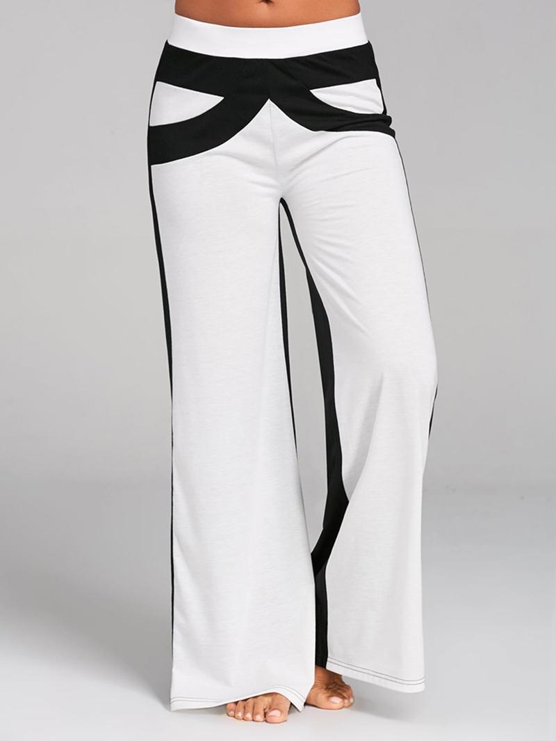 Ericdress Wide Leg Loose Color Block Women's Pants