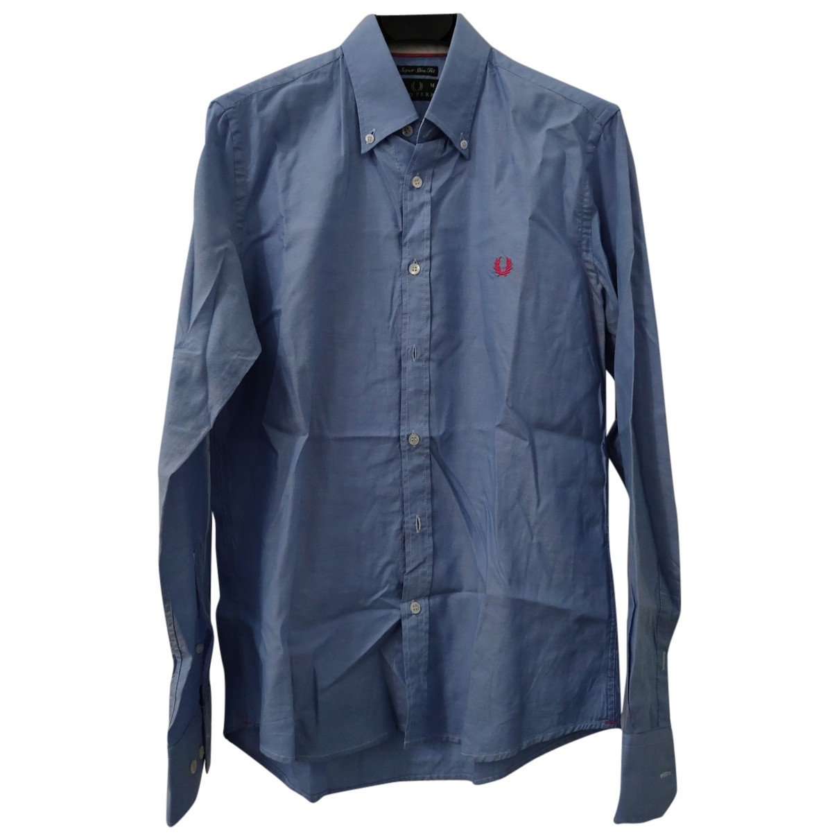 Fred Perry N Blue Cotton Shirts for Men M International