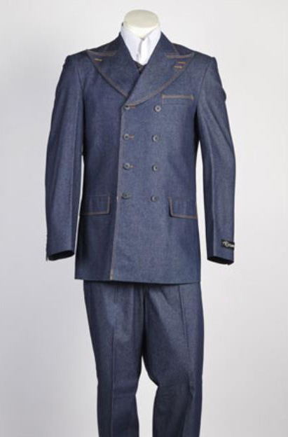 Mens Blue Fashion Denim Cotton Jean Fabric Double breasted Suit