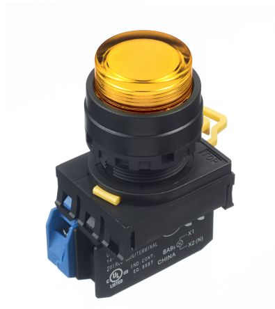 Idec , YW Illuminated Amber Extended Push Button Complete Unit, NO, 22mm Momentary Screw