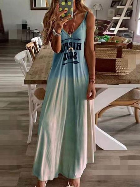 Milanoo Vestido largo Azul celeste claro Moda Mujer con estampado sin mangas Vestidos de poliester con tirantes Primavera Verano para uso en la playa