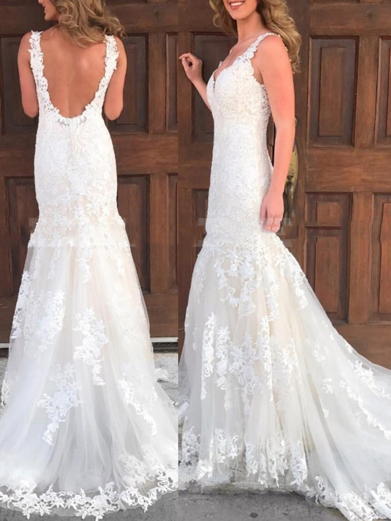 Ericdress Appliques Straps Backless Wedding Dress