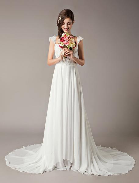 Milanoo Beach Wedding Dresses Ivory Lace Chiffon Beaded Flowers Summer Bridal Dress
