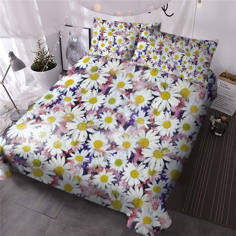 Daisy Reactive Printing Three-Piece Set Comforter Set Polyester Bedding Sets Skin-friendly Ultra-soft Microfiber No-fading