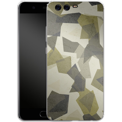 Huawei P10 Silikon Handyhuelle - Geometric Camo Green von caseable Designs