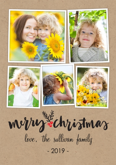 Holiday Photo Cards Flat Glossy Photo Paper Cards with Envelopes, 5x7, Card & Stationery -Christmas Berry Trio